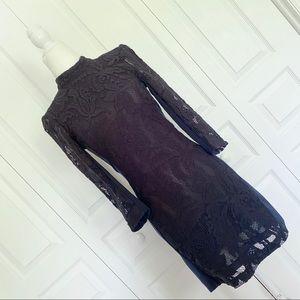 H&M Lace Long Sleeve Open Back Mini Dress